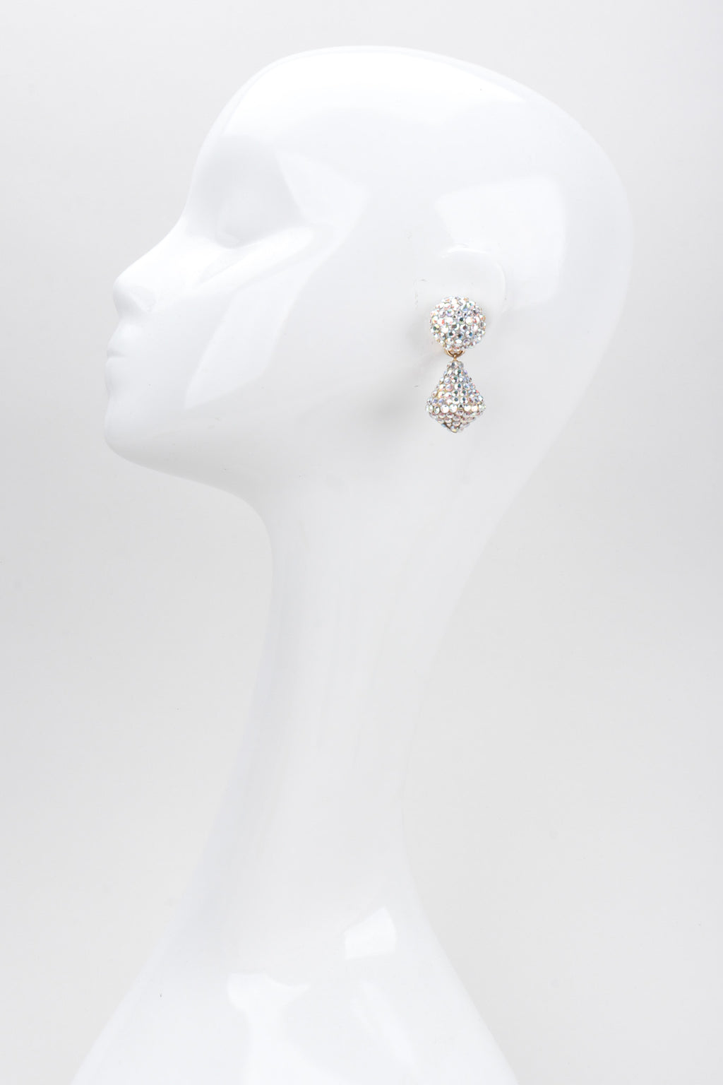 Recess Los Angeles Vintage Richard Kerr Swarovski AB Aurora Borealis Crystal Kiss Drop Earrings