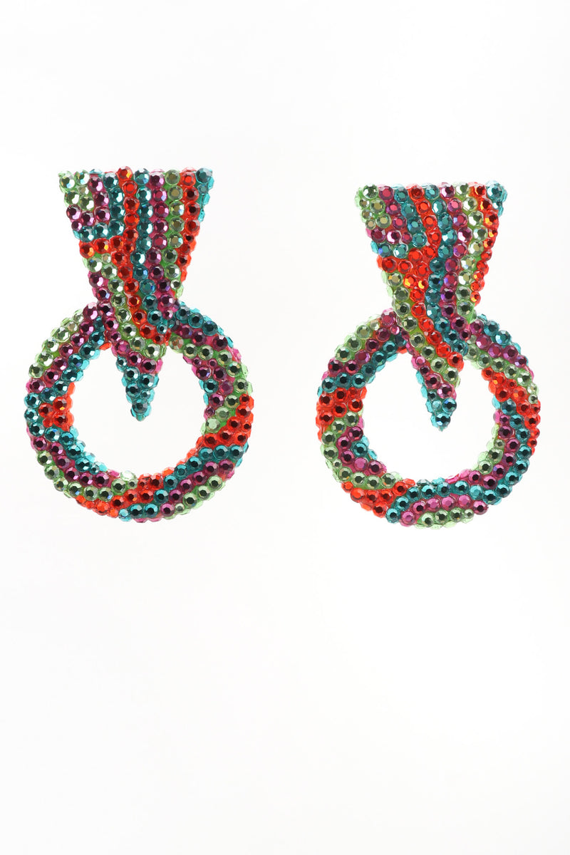 Recess Los Angeles Vintage Richard Kerr Tropical Crystal Triangle Point Wavy Hoop Earrings