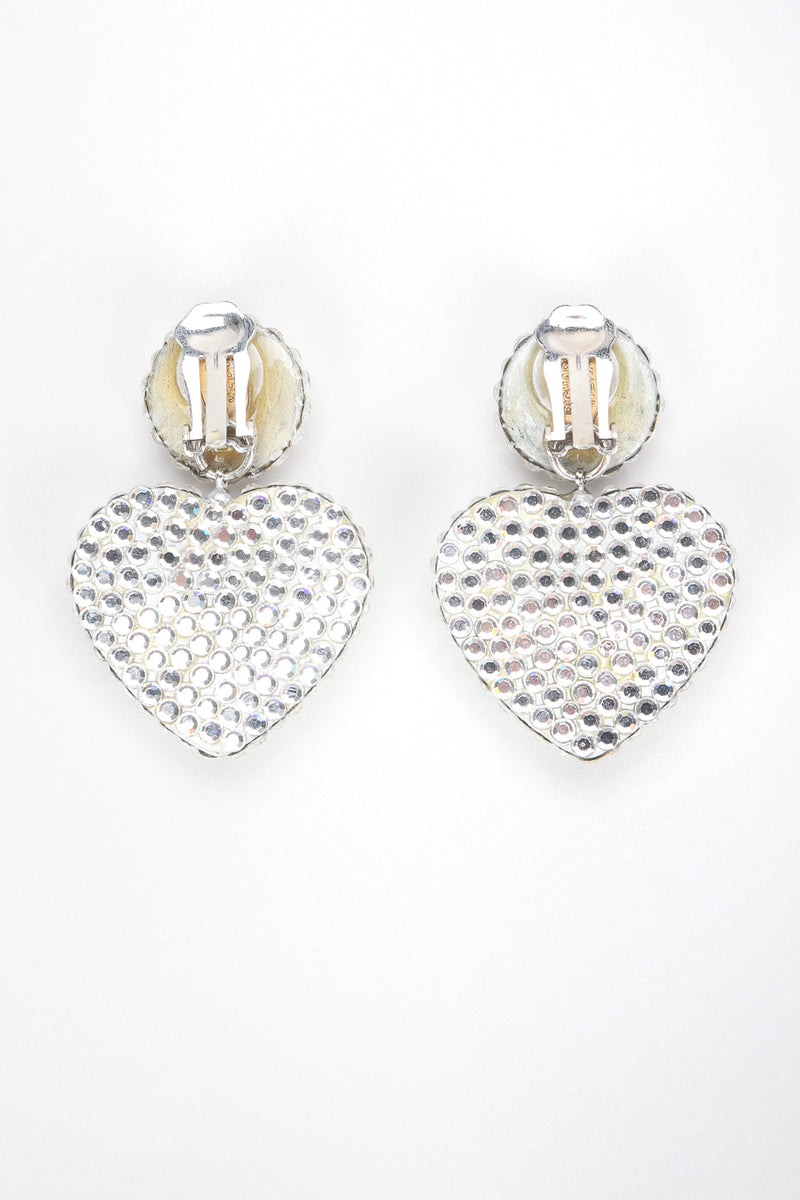 Recess Designer Consignment Vintage Richard Kerr Crystal Heart Drop Earrings Los Angeles Resale