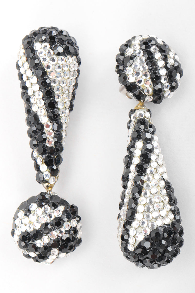 Recess Designer Consignment Vintage Richard Kerr Crystal Zebra Drop Earrings Los Angeles Resale Recycled