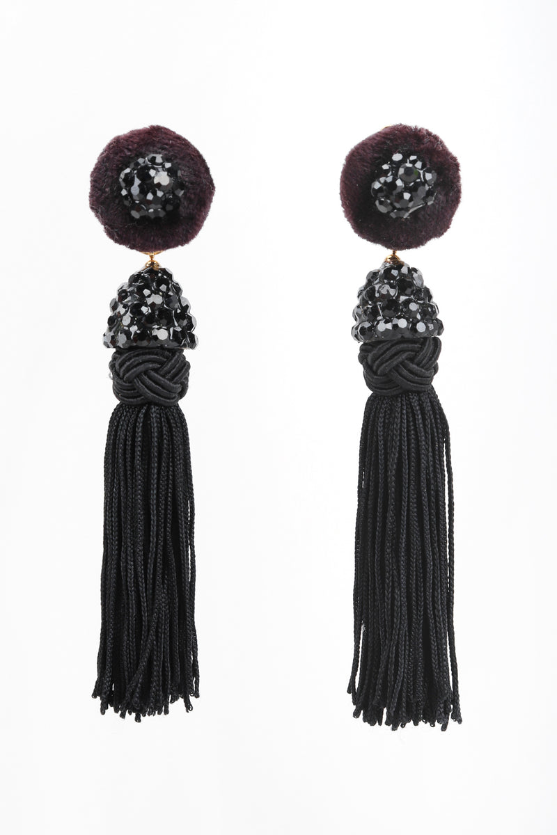 Recess Designer Consignment Vintage Richard Kerr Black Rhinestone Tassel Earrings Los Angeles Resale Recycled