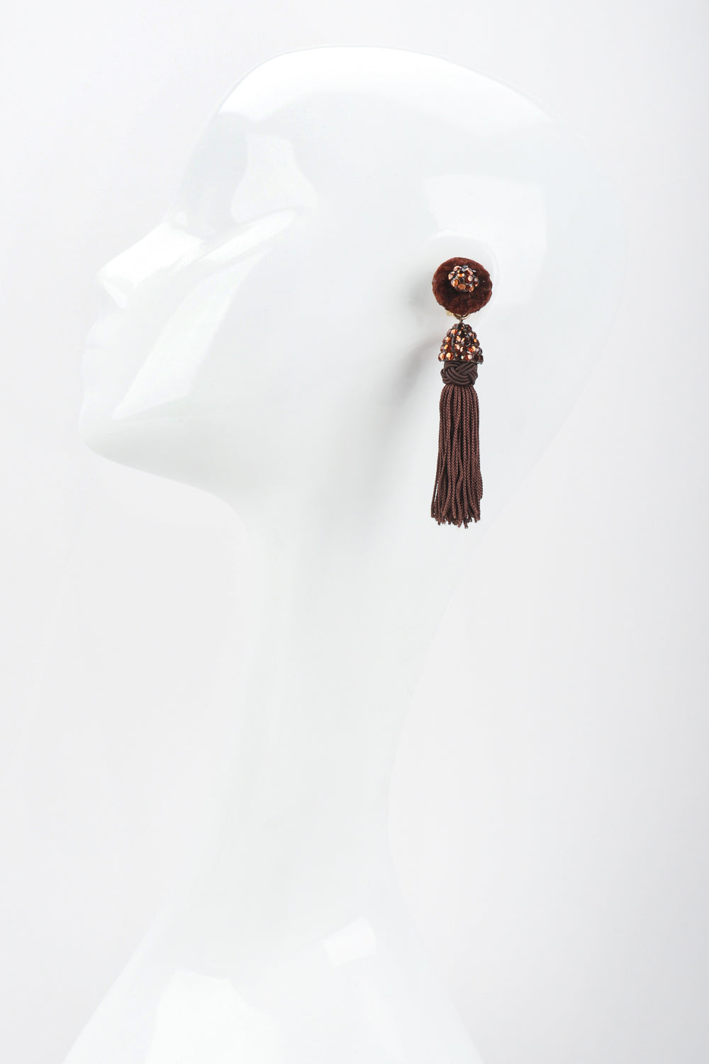 Recess Designer Consignment Vintage Richard Kerr Chocolate Rhinestone Tassel Earrings Los Angeles Resale Recycled