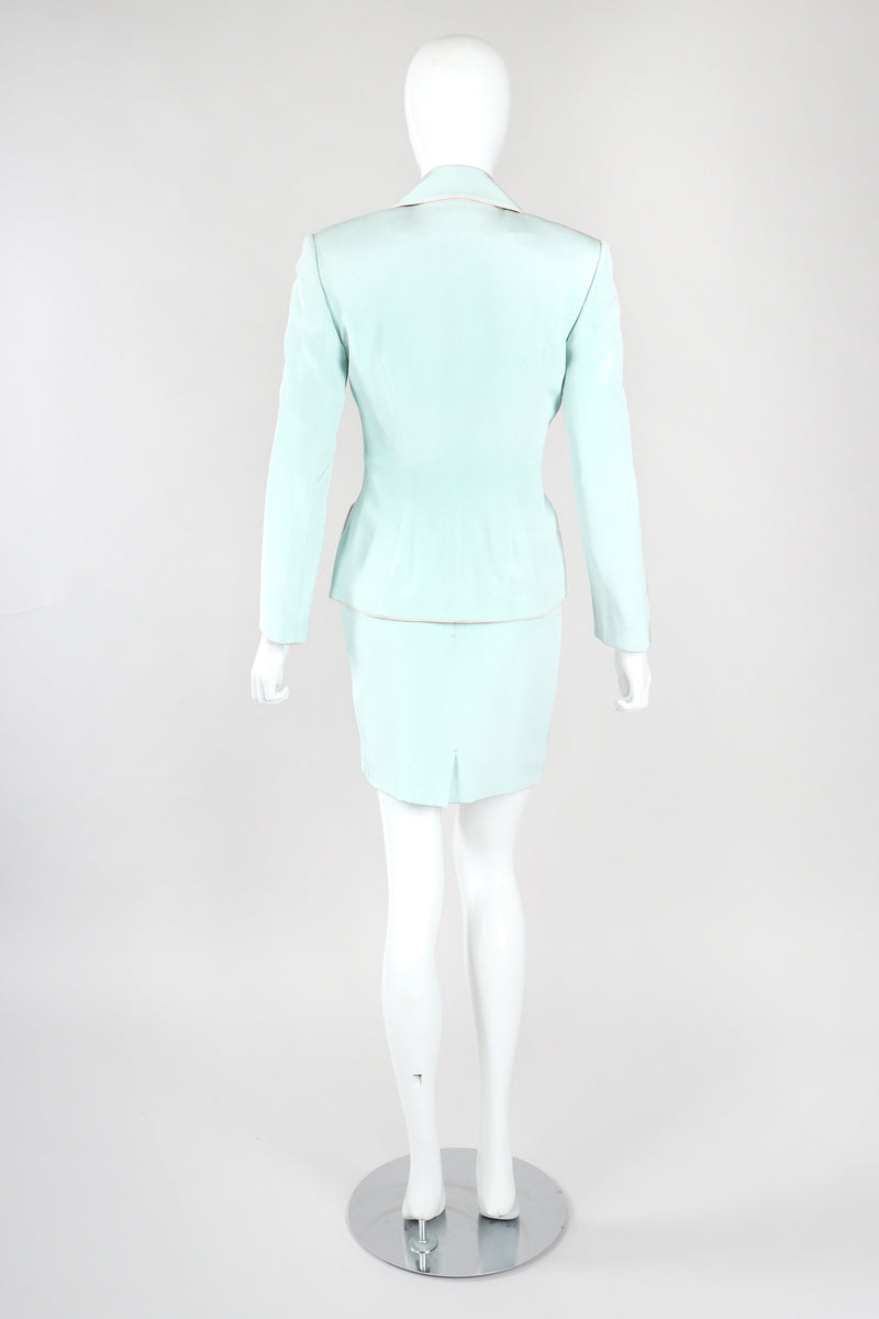 Recess Designer Consignment Vintage Richard Tyler Contrast Piped Silk Pajama Mint Jacket & Skirt Set Los Angeles Resale Recycled