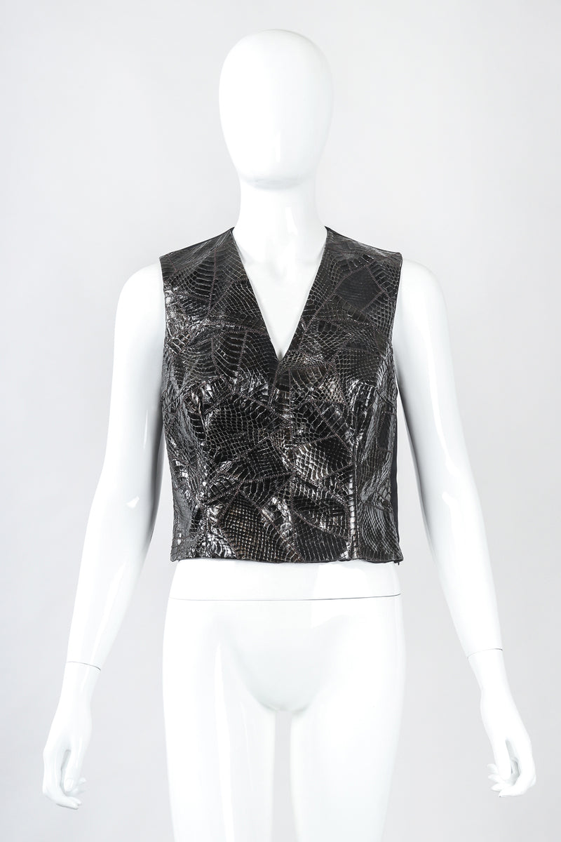 Recess Designer Consignment Vintage Richard Tyler Sleeveless Snake Shell Top Vest Los Angeles Resale