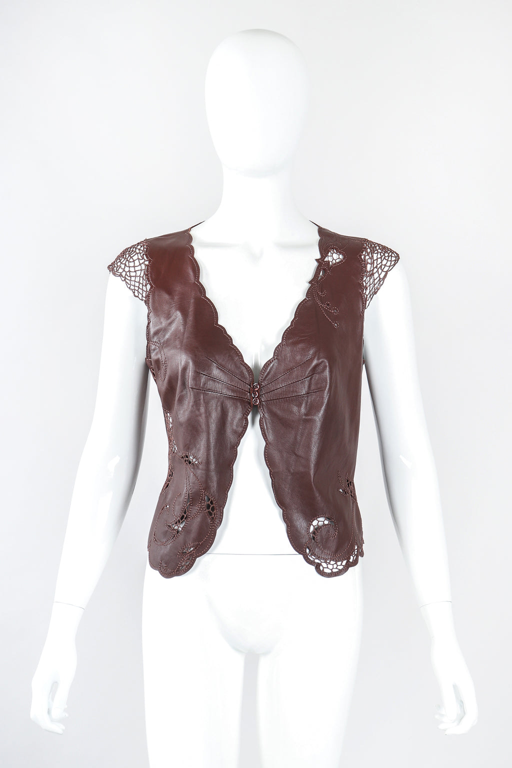 Recess Designer Consignment Vintage Richard Tyler Leather Crochet Butterfly Top Los Angeles Resale