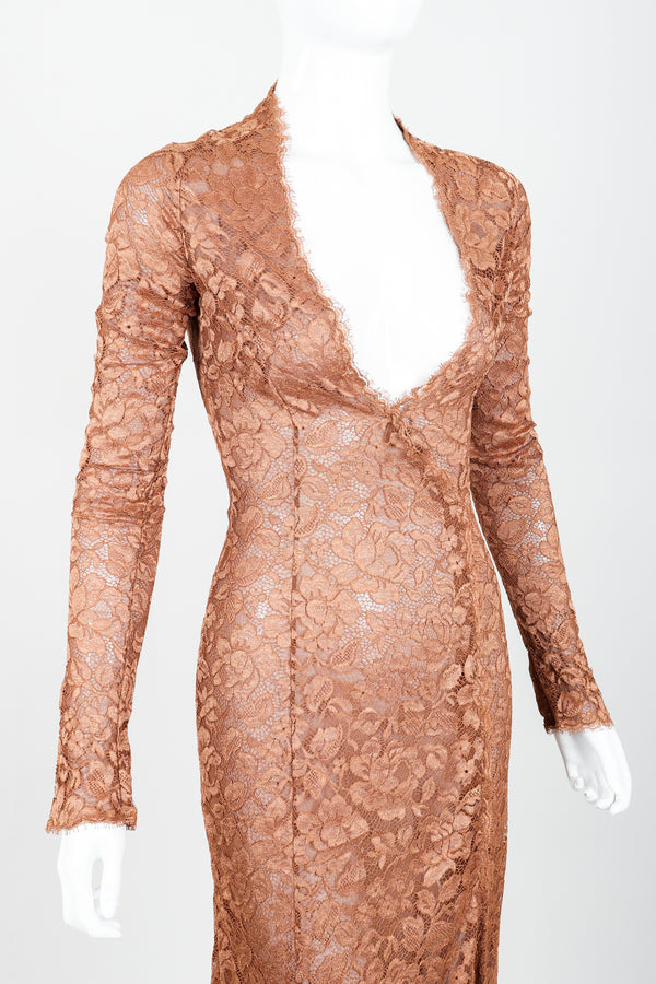 Vintage Richard Tyler Nude Sheer Lace Sheath Dress on Mannequin angle crop at Recess