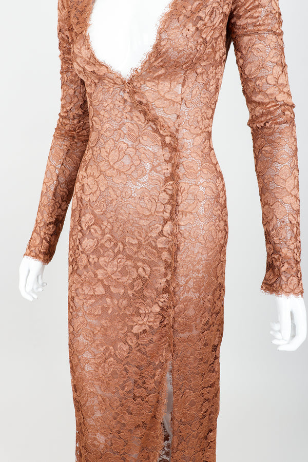 Vintage Richard Tyler Nude Sheer Lace Sheath Dress on Mannequin angled crop at Recess