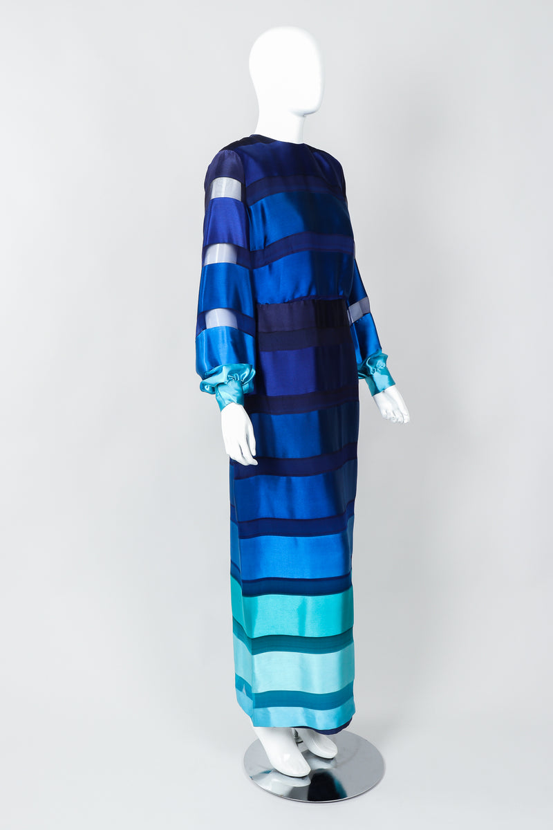 Vintage Richilene Ombre Silk Stripe Paint Chip Dress on Mannequin, side at Recess