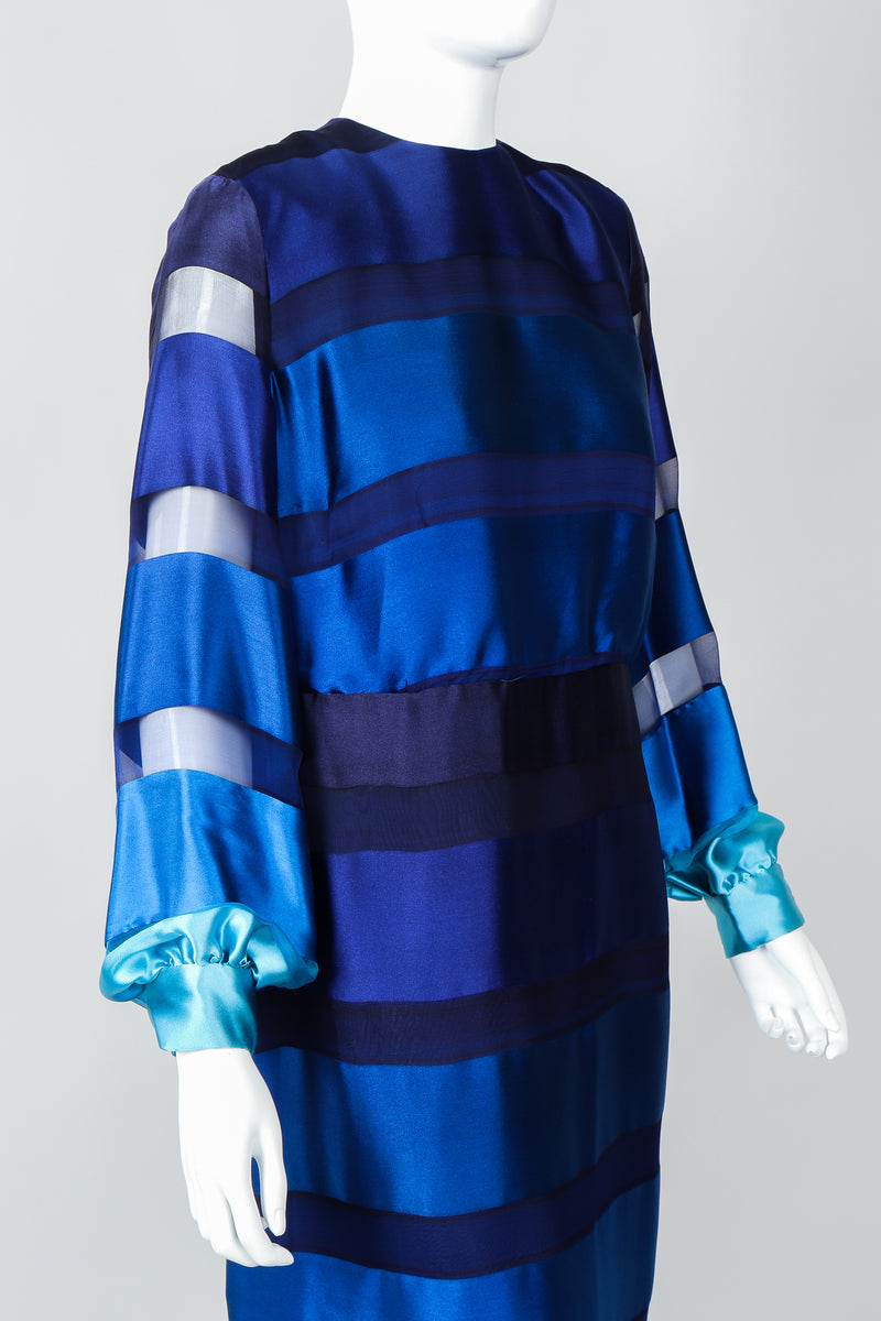 Vintage Richilene Ombre Silk Stripe Paint Chip Dress on Mannequin, cropped front at Recess