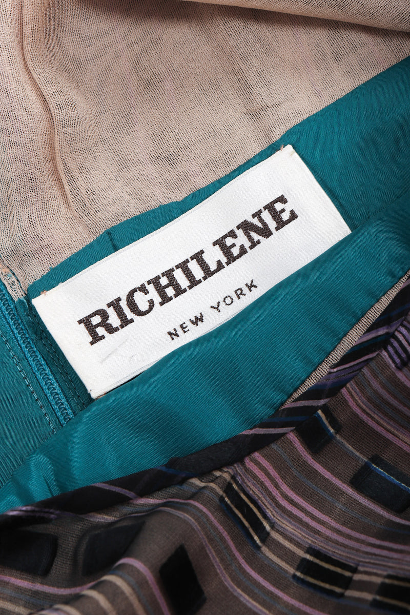 Recess Los Angeles Vintage Richilene Silk Chiffon Purple Teal Dress