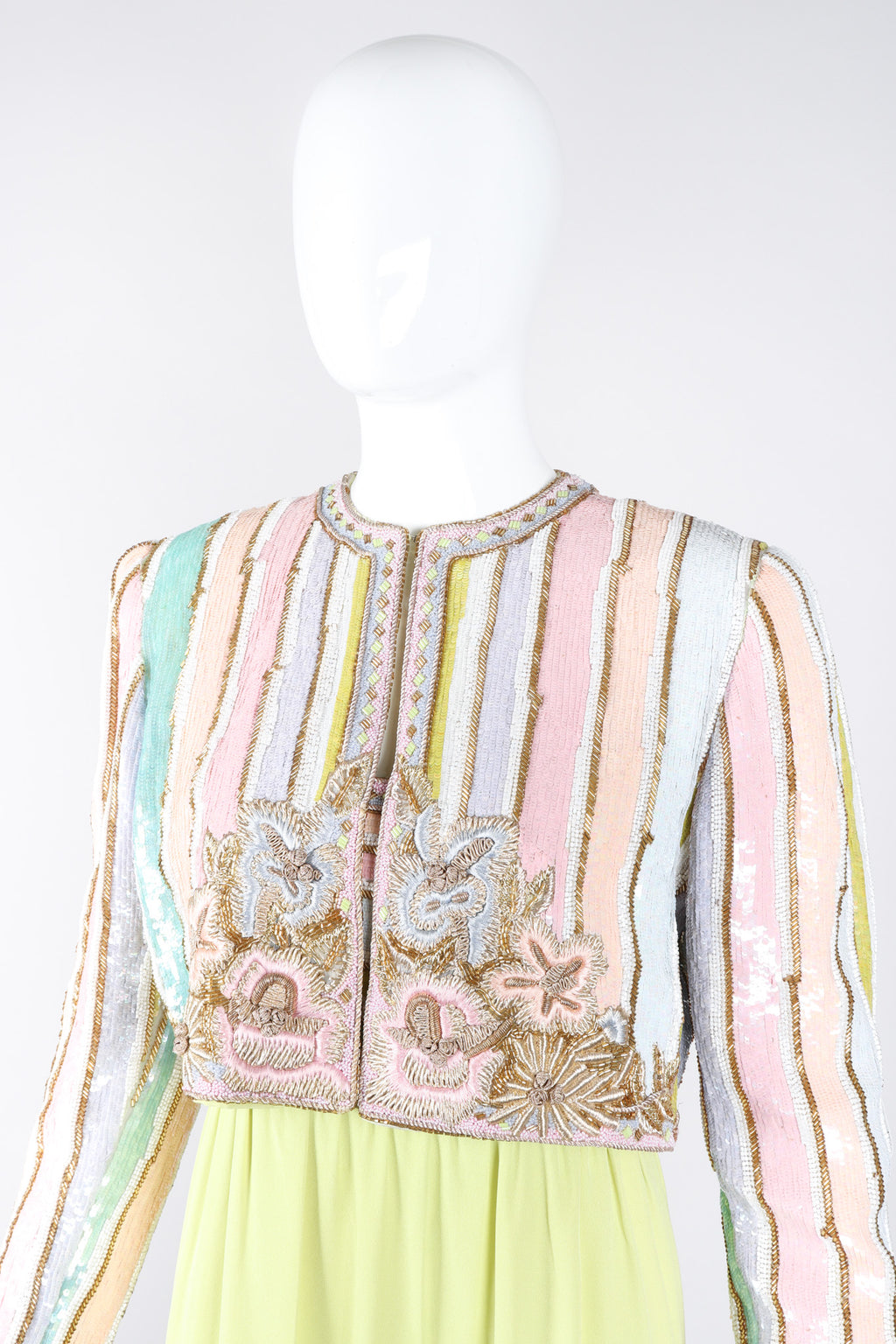 Recess Los Angeles Vintage Richilene Embellished Bead Sequin Stripe Cotton Candy Dress & Jacket Set