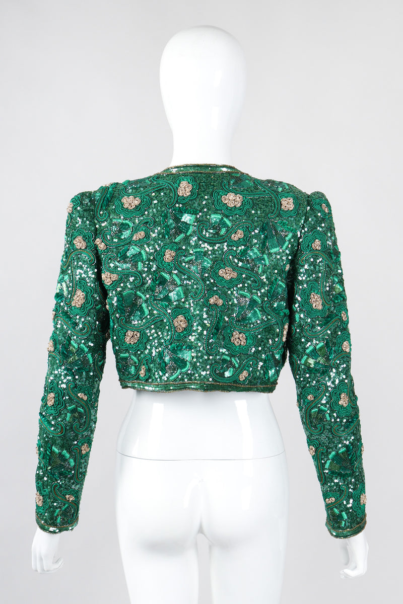 Recess Los Angeles Vintage Richilene Lucky Clover St Patrick Sequined Crop Jacket