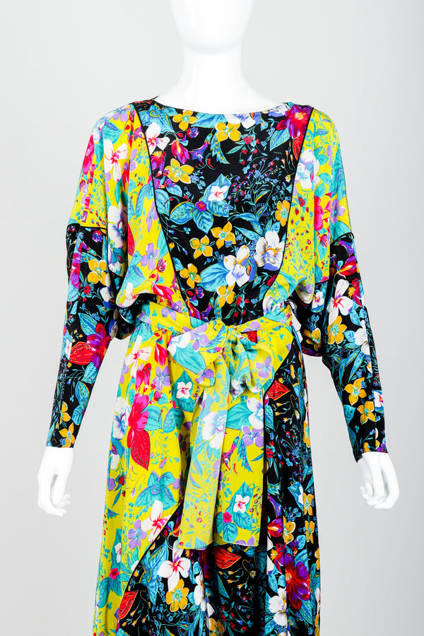 Vintage Rickie Freeman for Teri Jon Floral Batwing Dress on Mannequin Front Crop at Recess