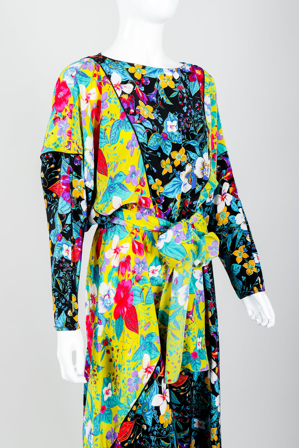 Vintage Rickie Freeman for Teri Jon Floral Batwing Dress on Mannequin Angle Crop at Recess