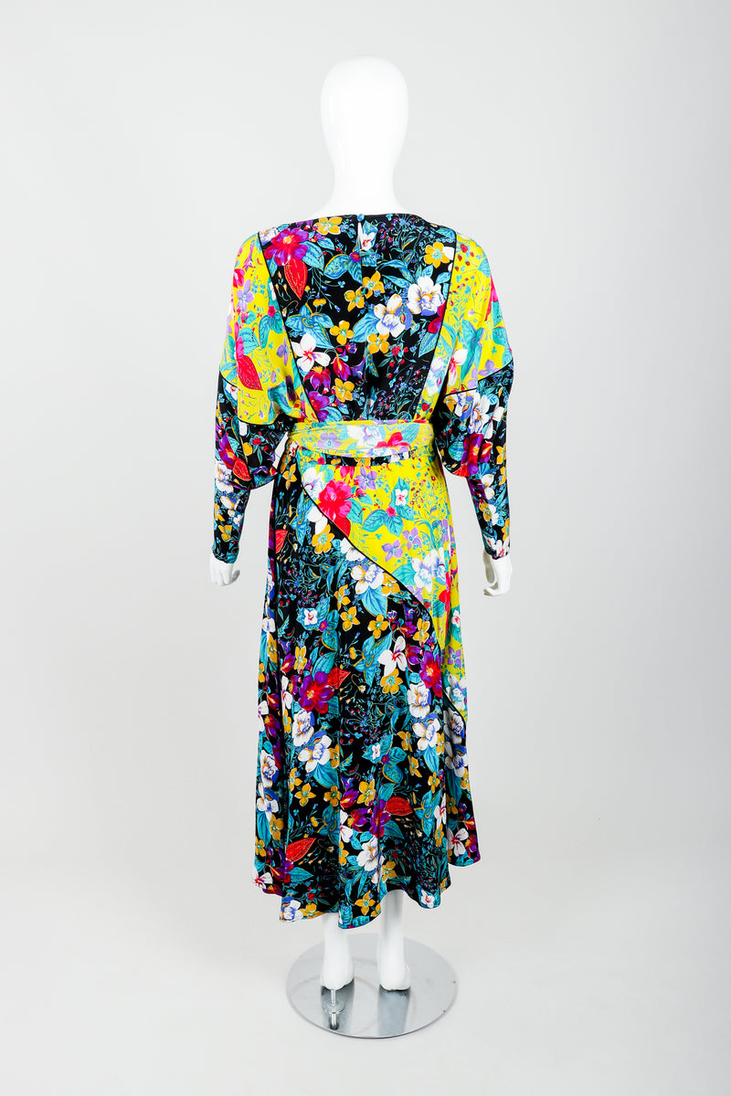Vintage Rickie Freeman for Teri Jon Floral Batwing Dress on Mannequin back at Recess