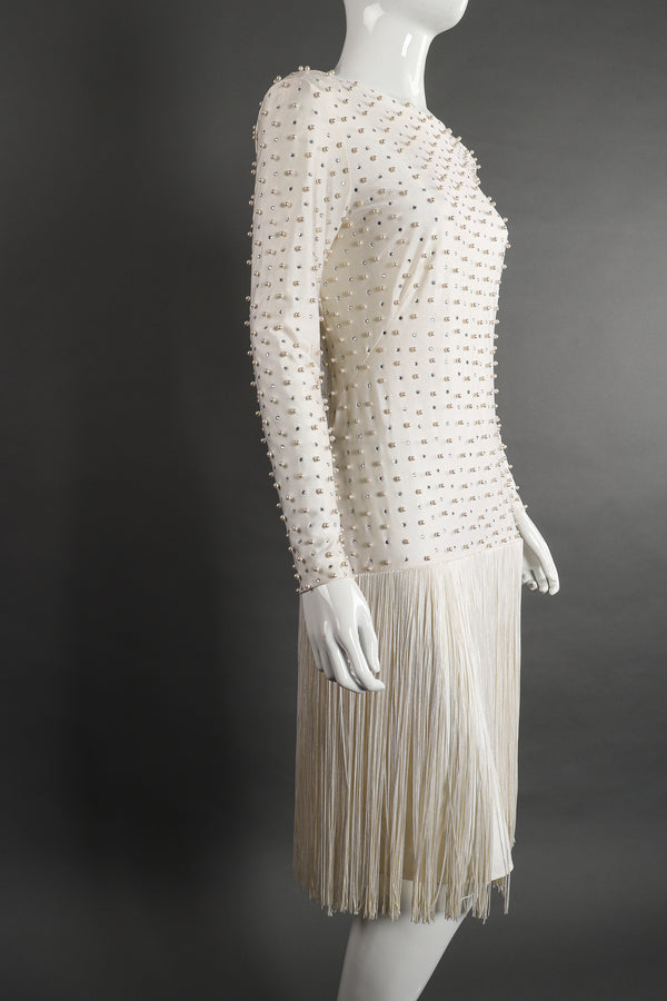 Vintage Robert David Morton Diamonds Pearls Fringe Wedding Bridal Dress on Mannequin angle Recess
