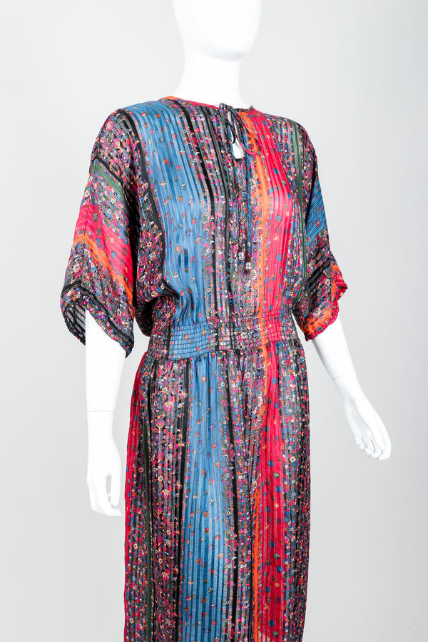 Vintage Robert Janan Floral Stripe Chiffon Dress on Mannequin angle crop at Recess Los Angeles