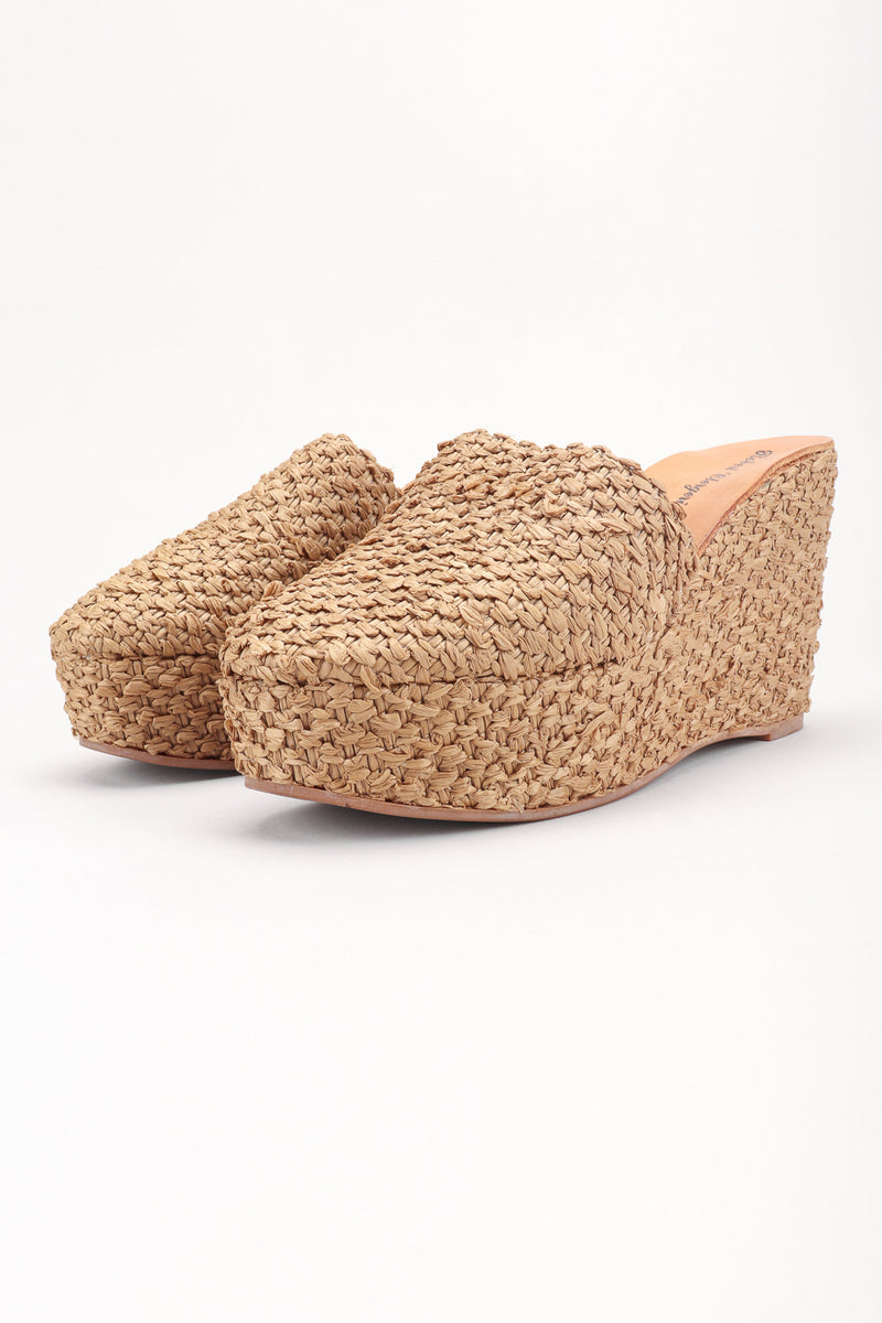 Recess Los Angeles Designer Consignment Resale Recycle Vintage Robert Clergerie Platform Raffia Straw Wedge Clogs Mules