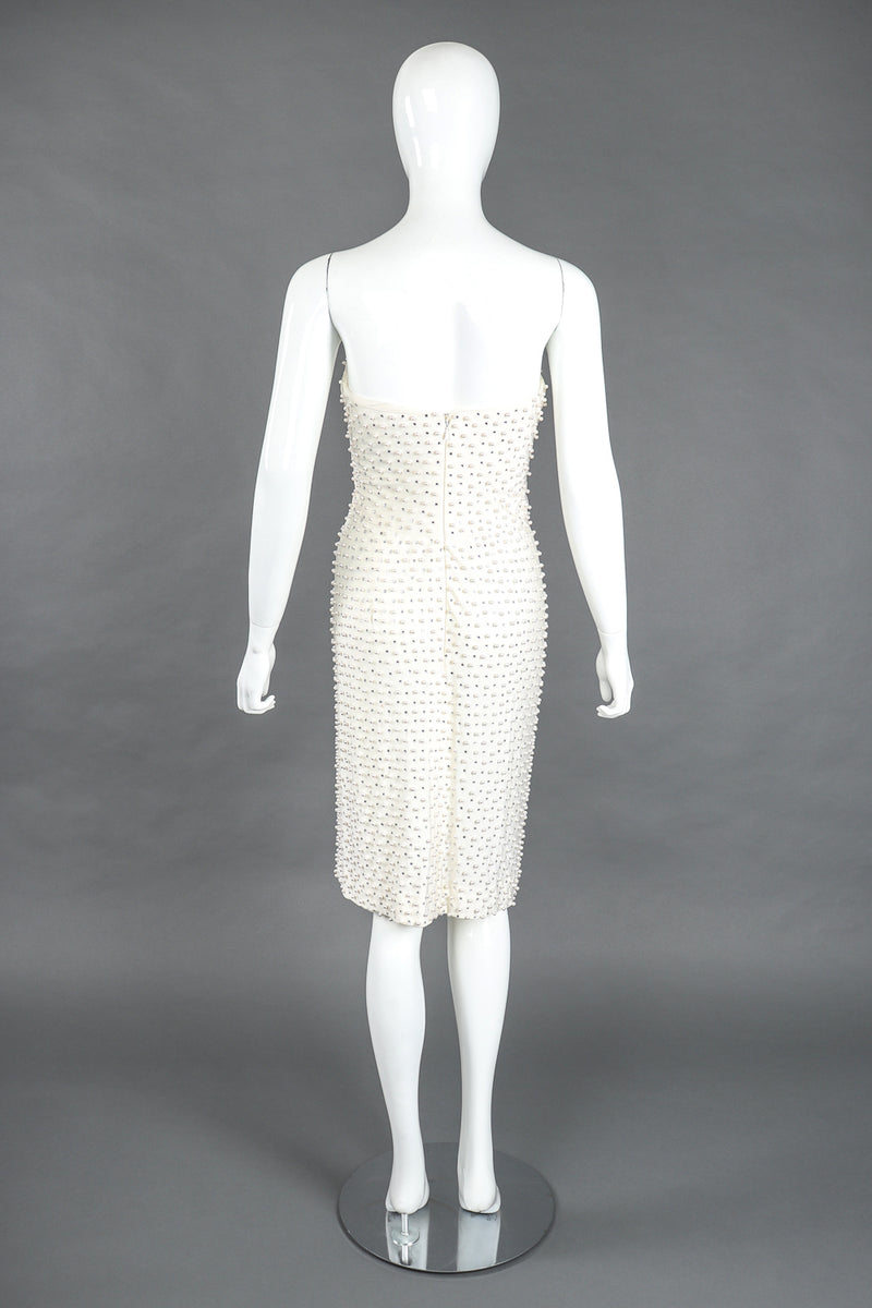 Recess Designer Consignment Vintage Robert-David Morton Diamonds & Pearls Embellished Cocktail Wedding Bridal Rehearsal Dress Los Angeles Resale
