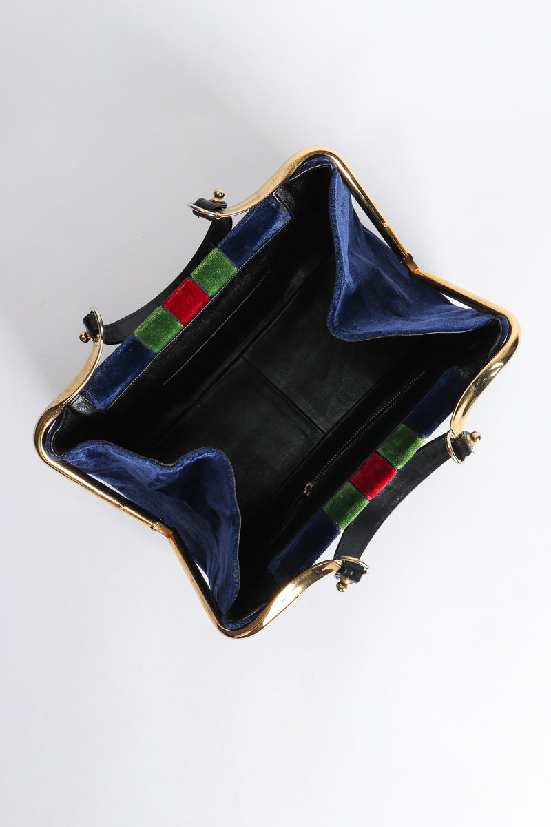 Vintage Roberta di Camerino Navy Stripe Velvet Frame Handbag open at Recess Los Angeles