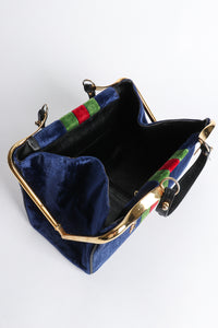 Vintage Roberta di Camerino Navy Stripe Velvet Frame Handbag frame at Recess Los Angeles
