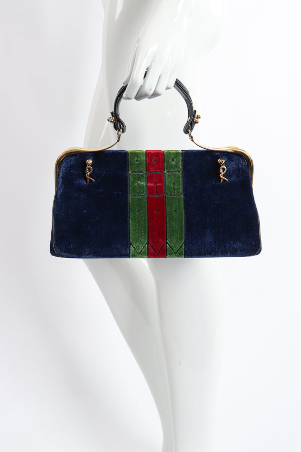Vintage Roberta di Camerino Navy Stripe Velvet Frame Handbag on Mannequin at Recess Los Angeles