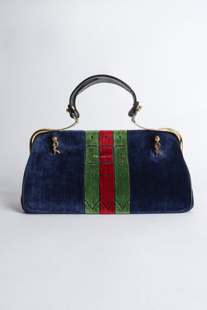 Vintage Roberta di Camerino Navy Stripe Velvet Frame Handbag front at Recess Los Angeles