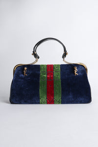 Vintage Roberta di Camerino Navy Stripe Velvet Frame Handbag Back at Recess Los Angeles