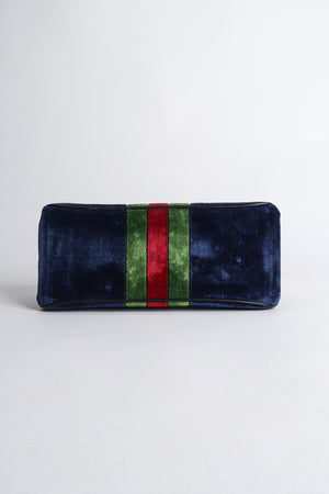 Vintage Roberta di Camerino Navy Stripe Velvet Frame Handbag Bottom at Recess Los Angeles