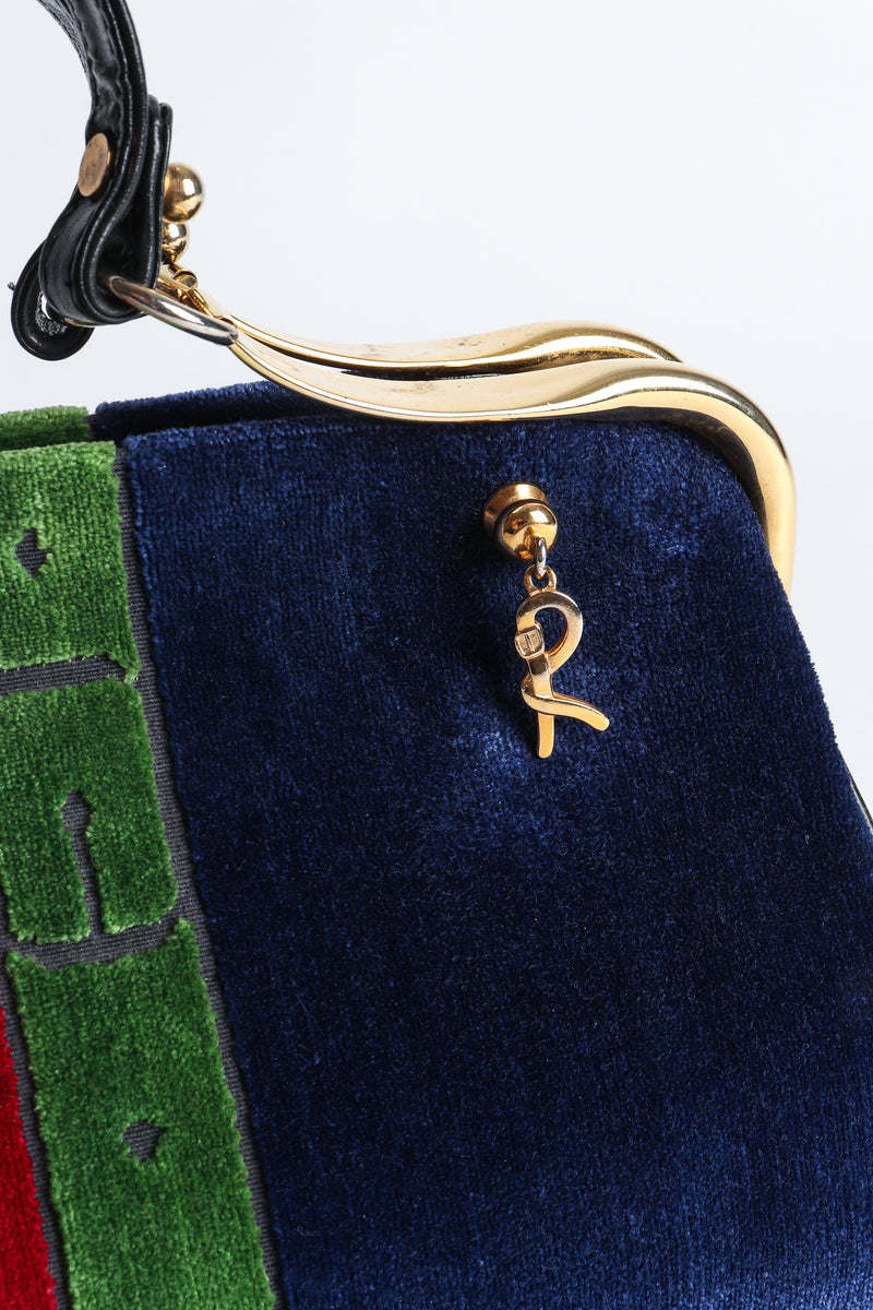 Vintage Roberta di Camerino Navy Stripe Velvet Frame Handbag  R Charm at Recess Los Angeles