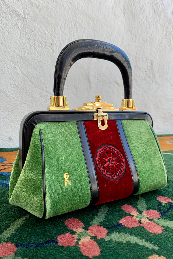 Vintage Roberta di Camerino Green Velvet Mini Bagonghi Bag angle front at Recess Los Angeles