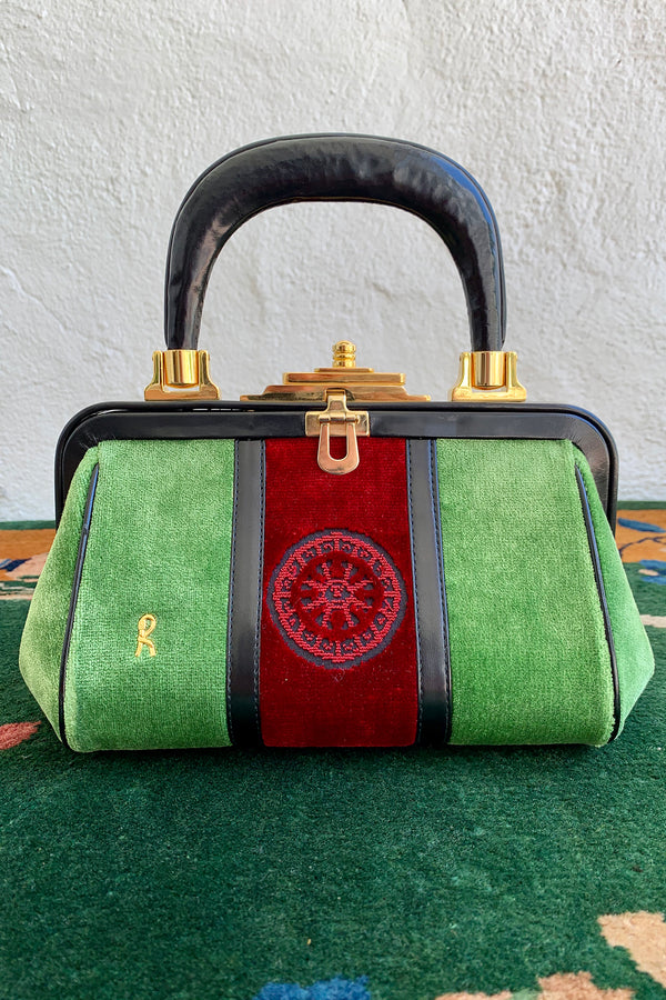 Vintage Roberta di Camerino Green Velvet Mini Bagonghi Bag front at Recess Los Angeles