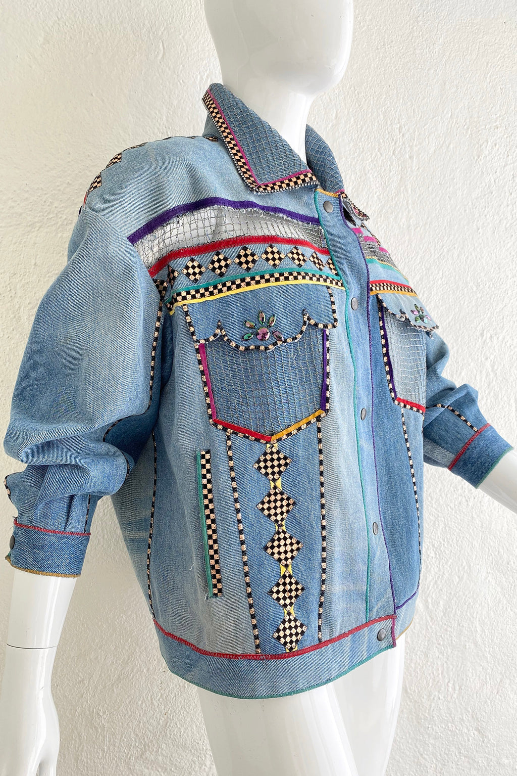 Vintage Roberto Cavalli for Amen Wardy Applique Denim Jacket on Mannequin Side at Recess LA