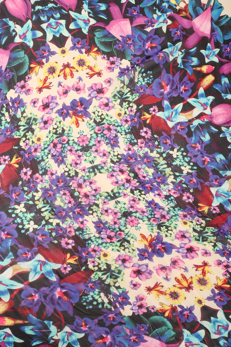 Recess Los Angeles Designer Consignment Vintage Floral Fringe Kaleidoscope Silk Chiffon Shawl
