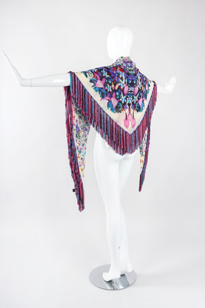 Recess Los Angeles Designer Consignment Vintage Floral Fringe Silk Chiffon Shawl