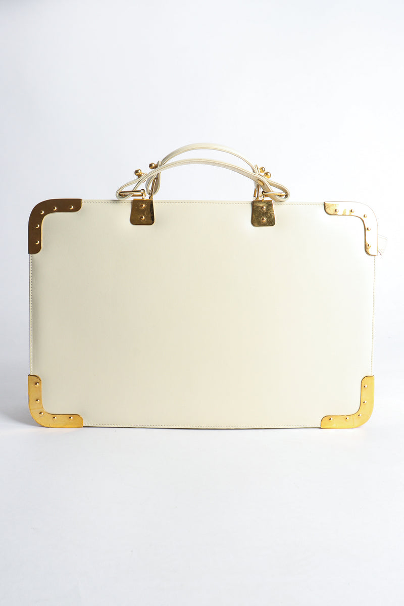 Vintage Roberta di Camerino Leather Folio Case with Brass Hardware back at Recess Los Angeles
