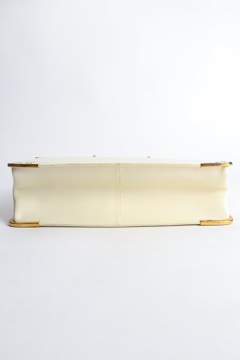 Vintage Roberta di Camerino Leather Folio Case with Brass Hardware bottom at Recess Los Angeles