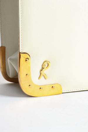 Vintage Roberta di Camerino Leather Folio Case with Brass Hardware gold logo charm at Recess Los Angeles