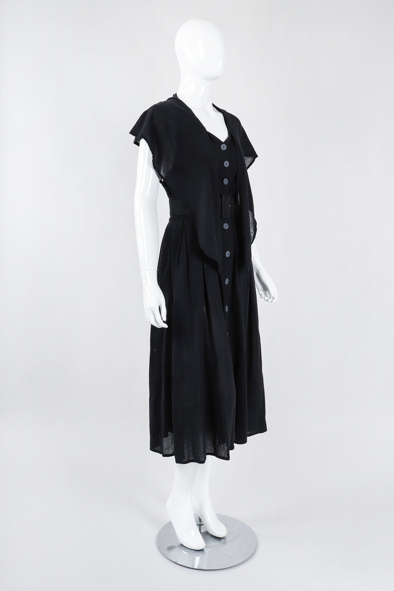 Recess Los Angeles Vintage Rodier Cotton Belted Bertha Cape Collar Dress