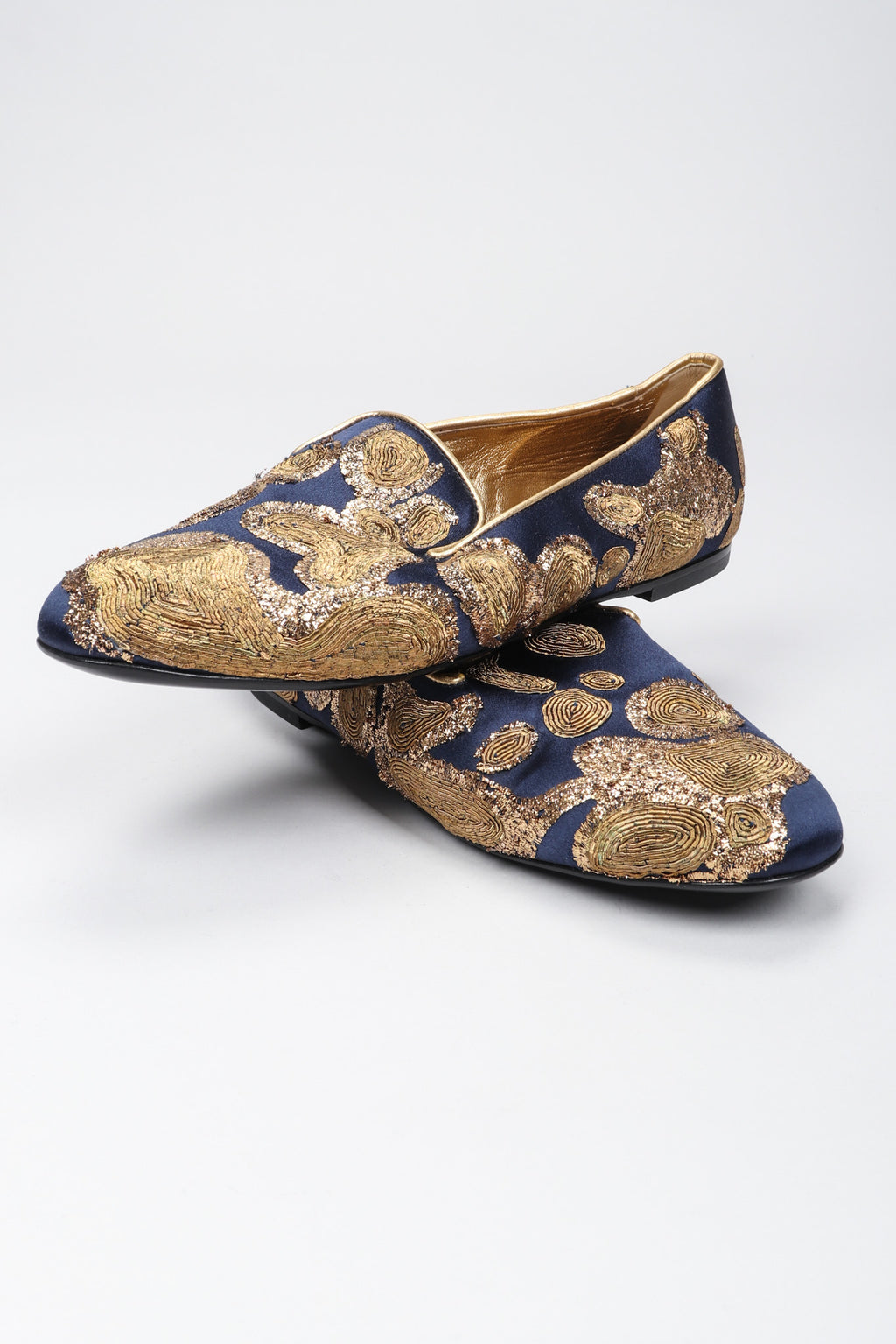 Recess Los Angeles Vintage Roger Vivier Metal Couching Embroidered Organic Freeform Loafers Smoking Slippers