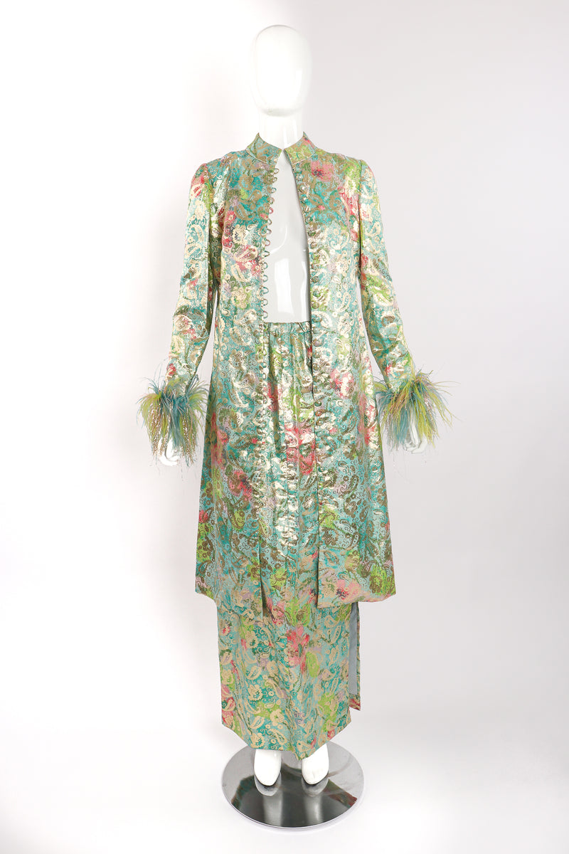 Vintage Romantica Victor Costa Romantica Brocade Duster & Skirt Set on Mannequin front at Recess LA