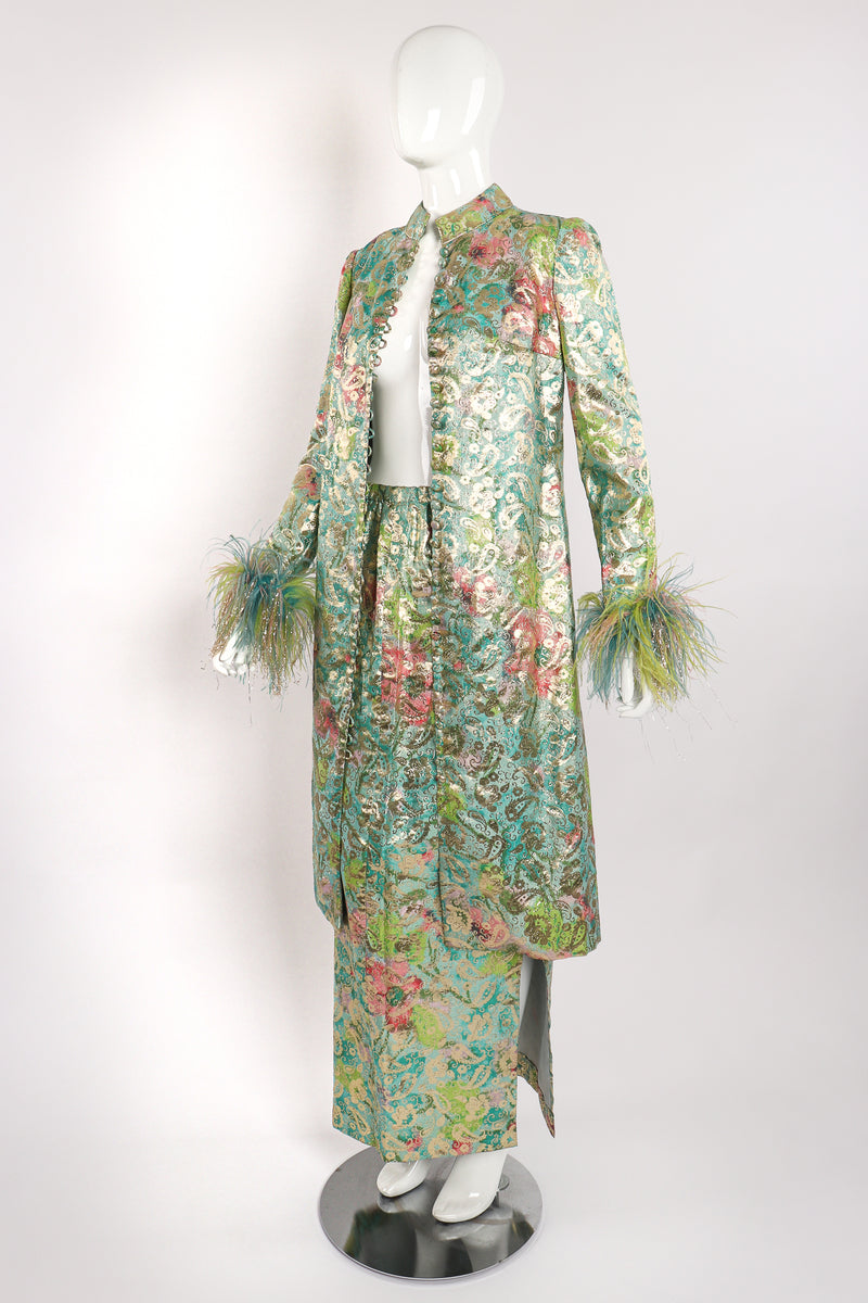 Vintage Romantica Victor Costa Romantica Brocade Duster & Skirt Set on Mannequin angle at Recess LA