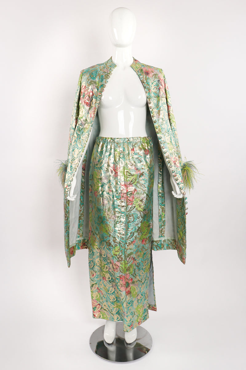 Vintage Romantica Victor Costa Romantica Brocade Duster & Skirt Set on Mannequin open at Recess LA