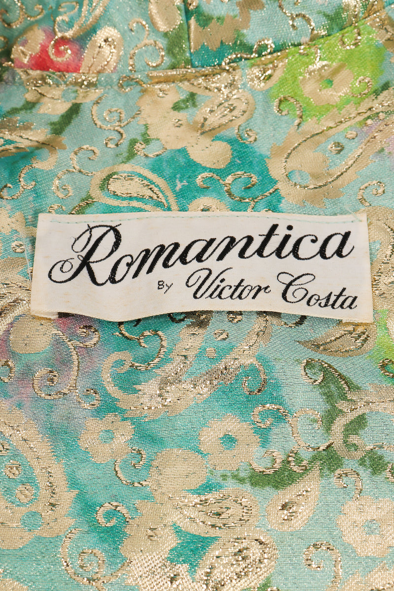 Vintage Romantica Victor Costa Romantica Brocade Coat & Skirt Set label at Recess LA