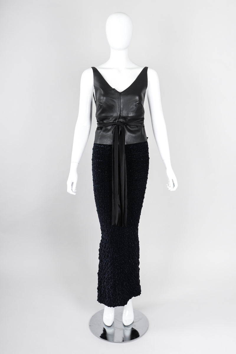Recess Los Angeles Vintage Romeo Gigli Midnight Ruched Velvet Mermaid Skirt