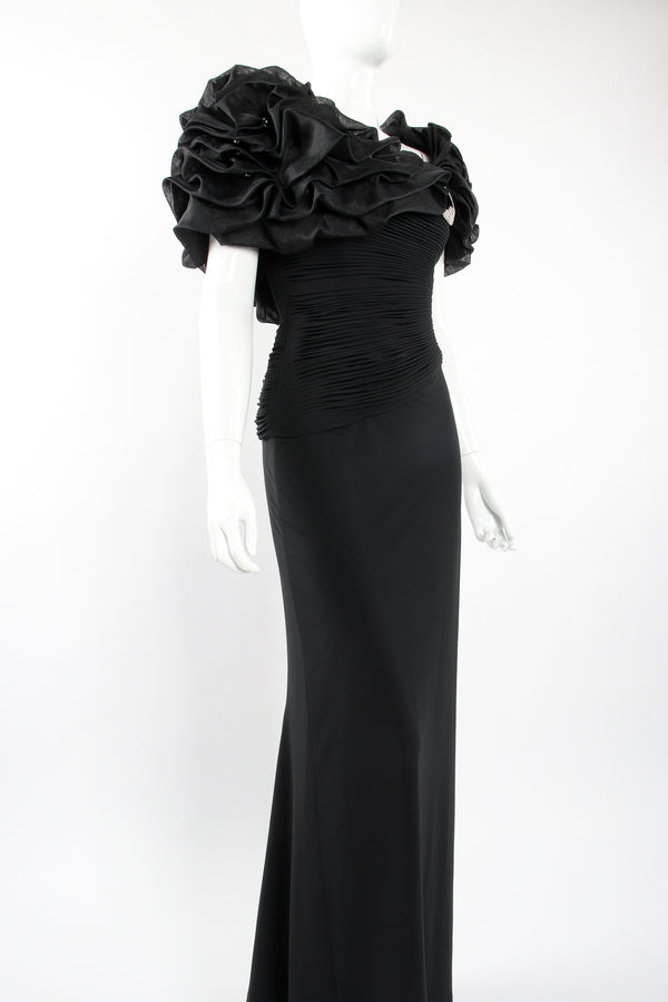 Vintage Rose Taft Ruffle Shoulder Sheath Gown on Mannequin angle at Recess Los Angeles