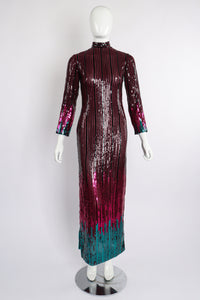 Vintage Ruben Panis Sheer Sequin Stripe Sheath Dress on Mannequin front at Recess Los Angeles