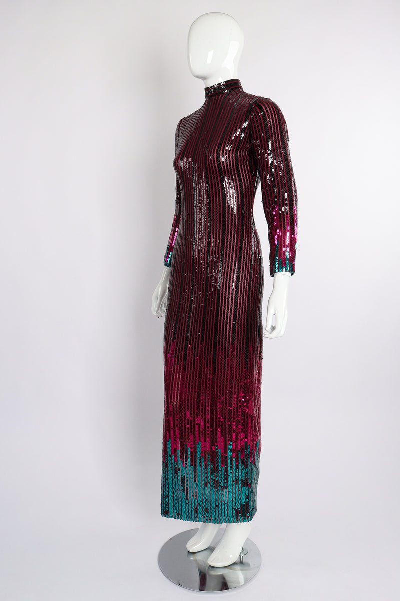 Vintage Ruben Panis Sheer Sequin Stripe Sheath Dress on Mannequin angle at Recess Los Angeles