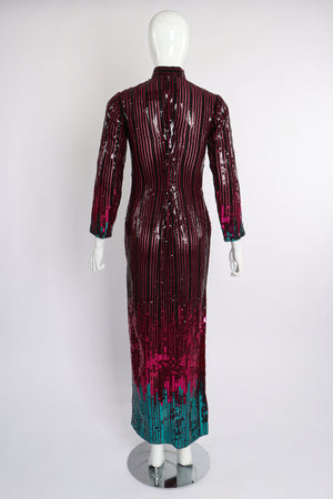 Vintage Ruben Panis Sheer Sequin Stripe Sheath Dress on Mannequin back at Recess Los Angeles