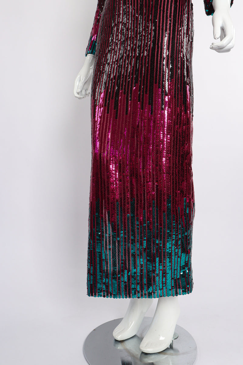 Vintage Ruben Panis Sheer Sequin Stripe Sheath Dress on Mannequin skirt at Recess Los Angeles